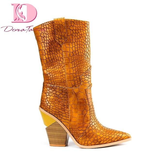 Doratasia 2019 marka yeni 7 renk Ins büyük boyutu 46 tıknaz topuklu Retro orta buzağı çizmeler ayakkabı batı çizmeler kadın ayakkabısı kadın