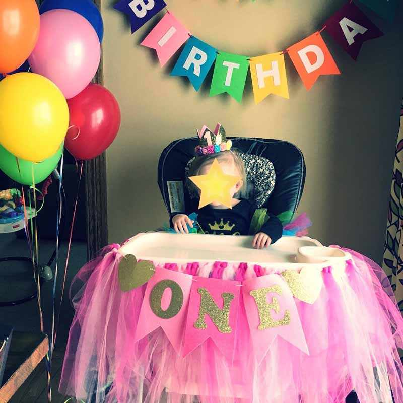 Glitter One Banner Pennant High Chair Baby Shower Kids Boys Girls First Birthday Party Highchair Decoration