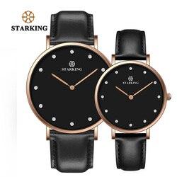 STARKING زوجين عاشق ساعة كوارتز جلد طبيعي 30 متر مقاوم للماء الأسود ساعة يد بسيطة الرجال والنساء هدايا عيد الحب Hodinky