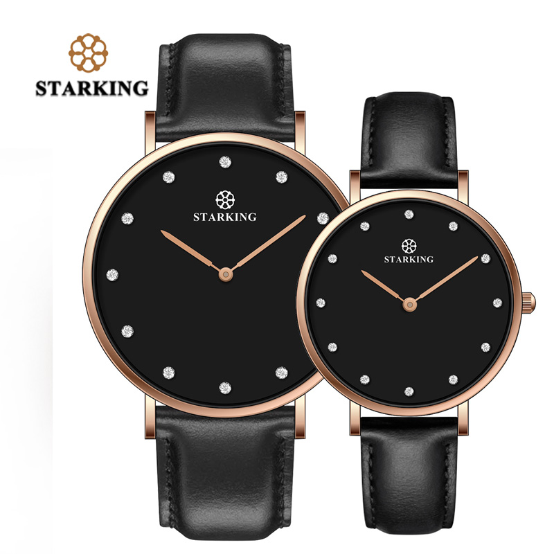 STARKING Couple Lover Watch Quartz Genuine Leather 30M Waterproof Black Simple Watch Men And Women Valentine Day Gifts Hodinky