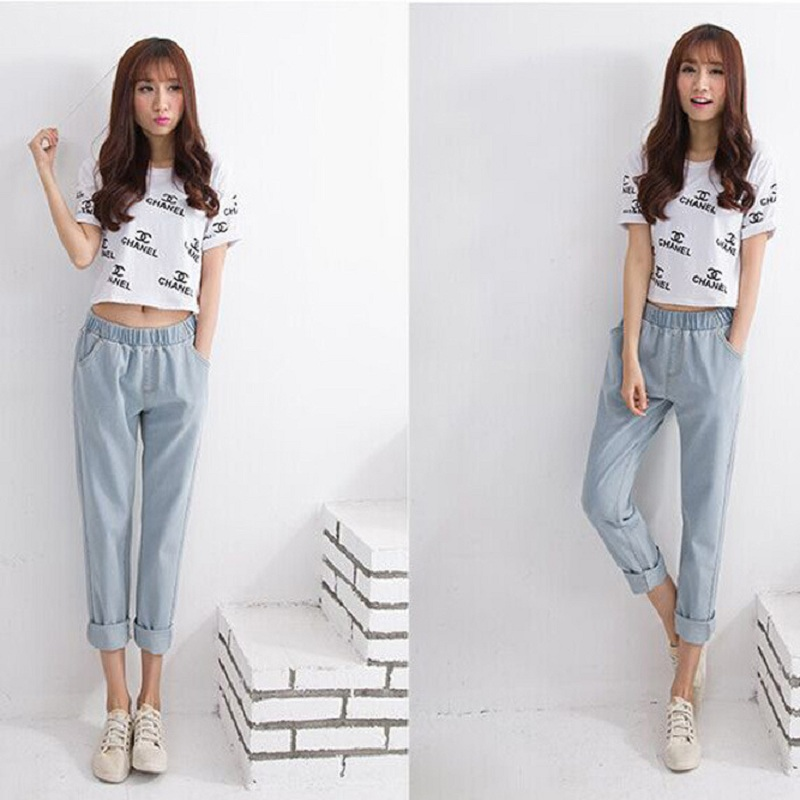 ФОТО Free shipping 2016 New Slim Pencil Pants Vintage High Waist Jeans new womens pants full length pants loose cowboy pants