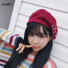 6c591aba5f80d SUOGRY Solid Color Plain Hats for Women Wool Feel Winter Beret with Ring