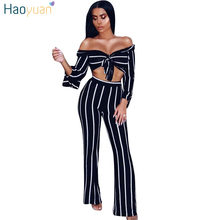 1a1d7a2a7710 HAOYUAN Off Shoulder Striped Sexy Jumpsuits Two Piece Set Long Sleeve  Bodysuit Wide Leg Body Overalls Rompers Womens Jumpsuit