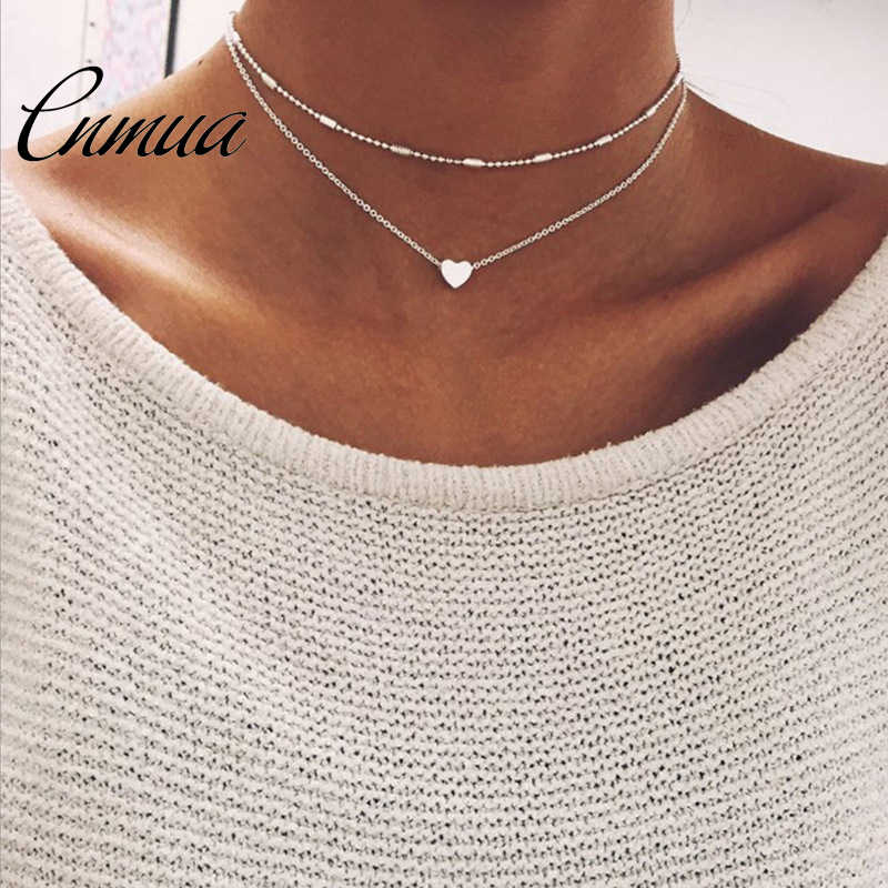 Popular jewelry love simple tide female street shoot item decoration copper heart multi-layer clavicle necklace NL22303
