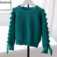 Kobeinc 2017 New Baby Girls Cardigan Sweater Autumn Winter Long Sleeve Kids Sweaters Solid Children Clothes