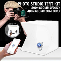 40x40x40cm Portable Folding Light Box Photography Studio Softbox LED Light Soft Box Tent Kit for Phone Camera Photo Background