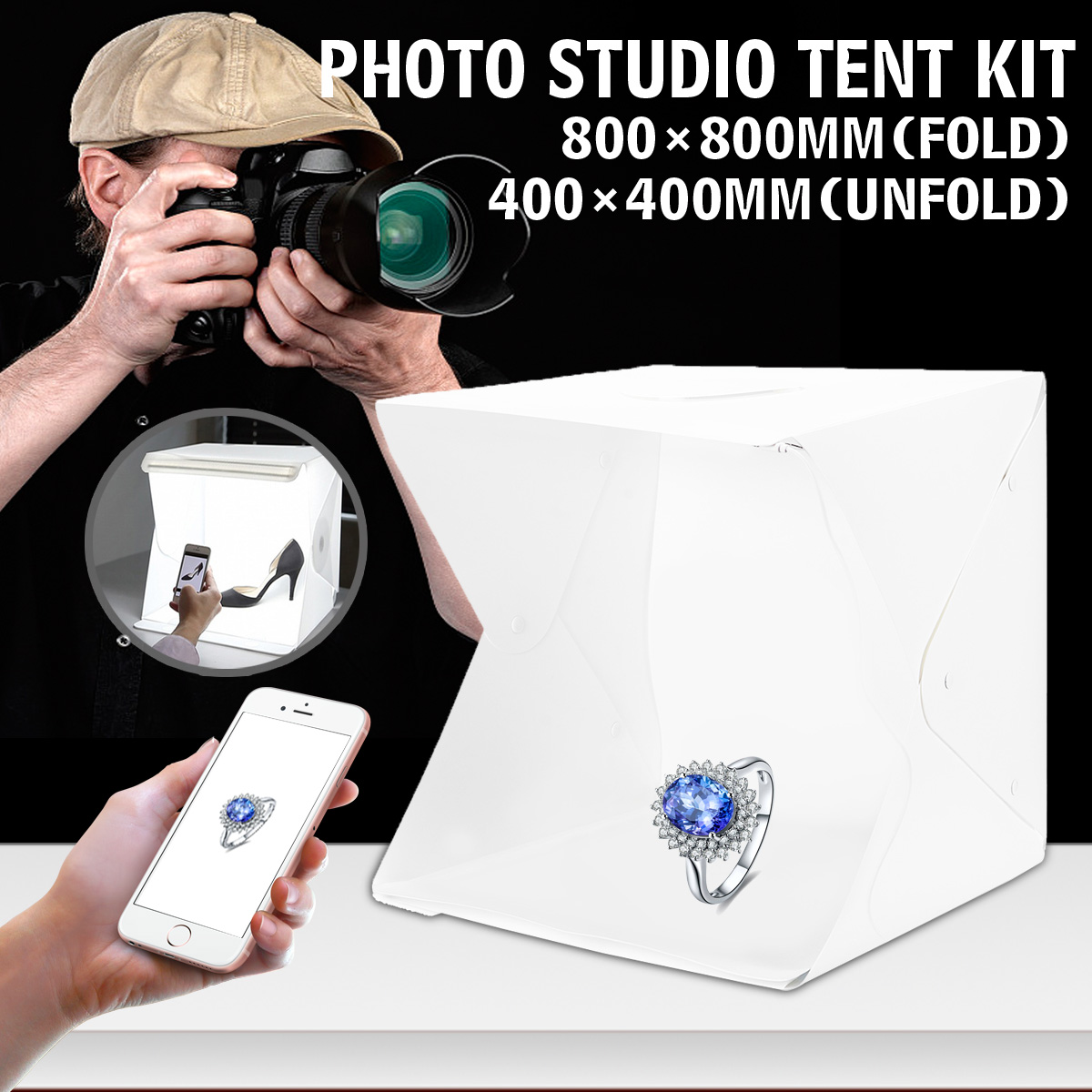 80x80x80cm Portable Folding Light Box Photography Studio Softbox LED Light Soft Box Tent Kit for Phone Camera Photo Background image