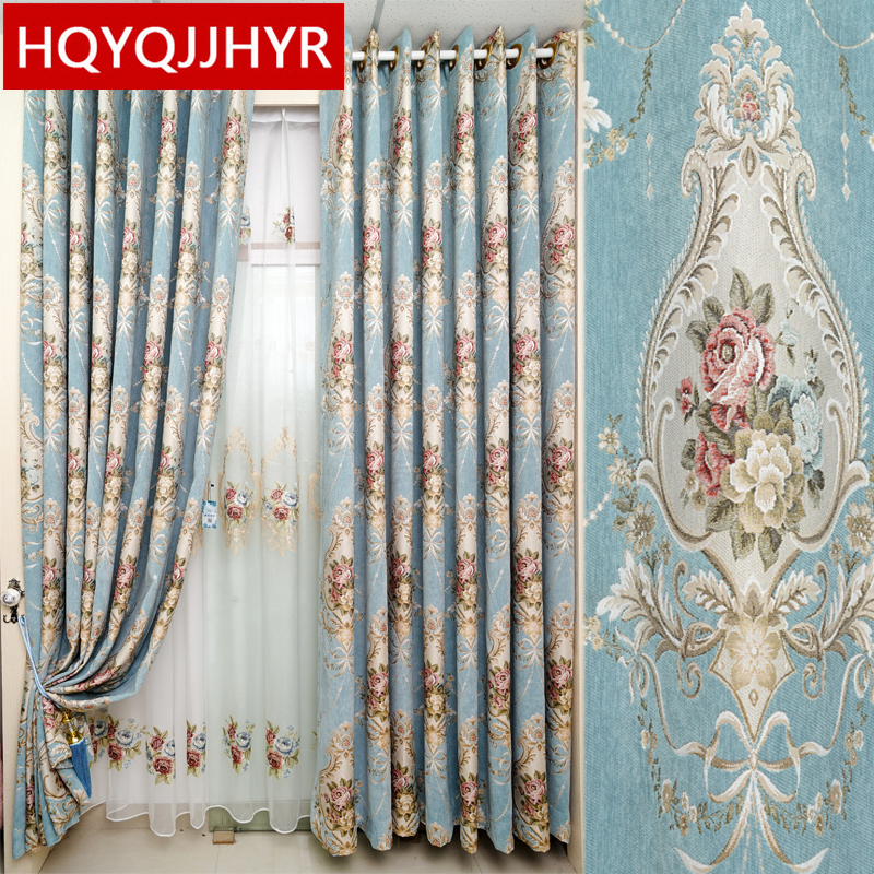 Classic Elegant High Quality Chenille Jacquard Blackout Curtains For Living Room Luxurious Embroidered Voile Curtain For Bedroom