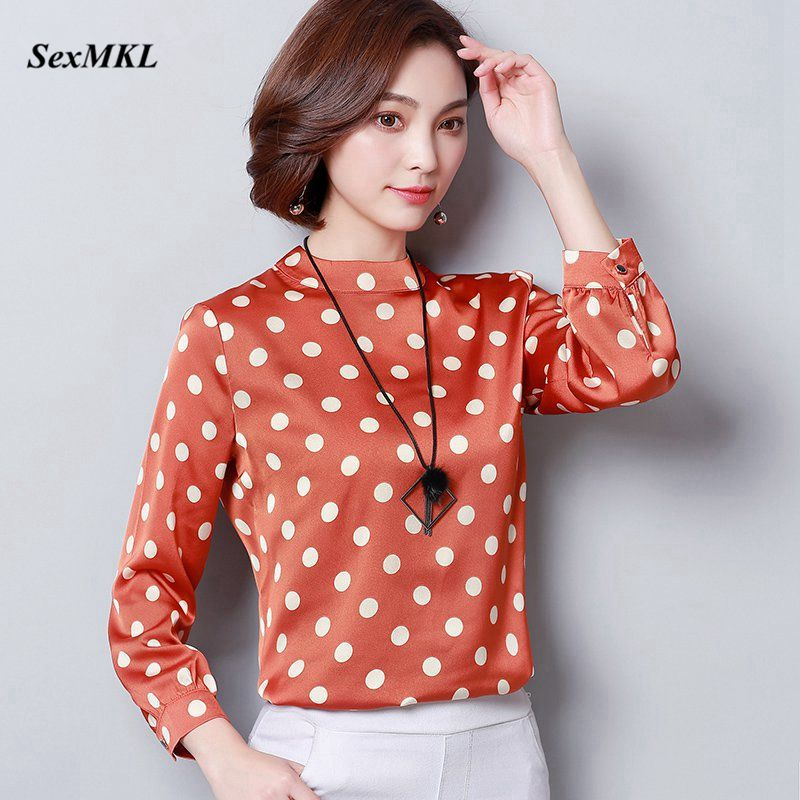 Women Chiffon   Blouses   and Tops 2018 Fashion Spring Summer Casual Long Sleeve   Blouse   Office Lady Dot Sexy   Blouse     Shirts   Plus Size