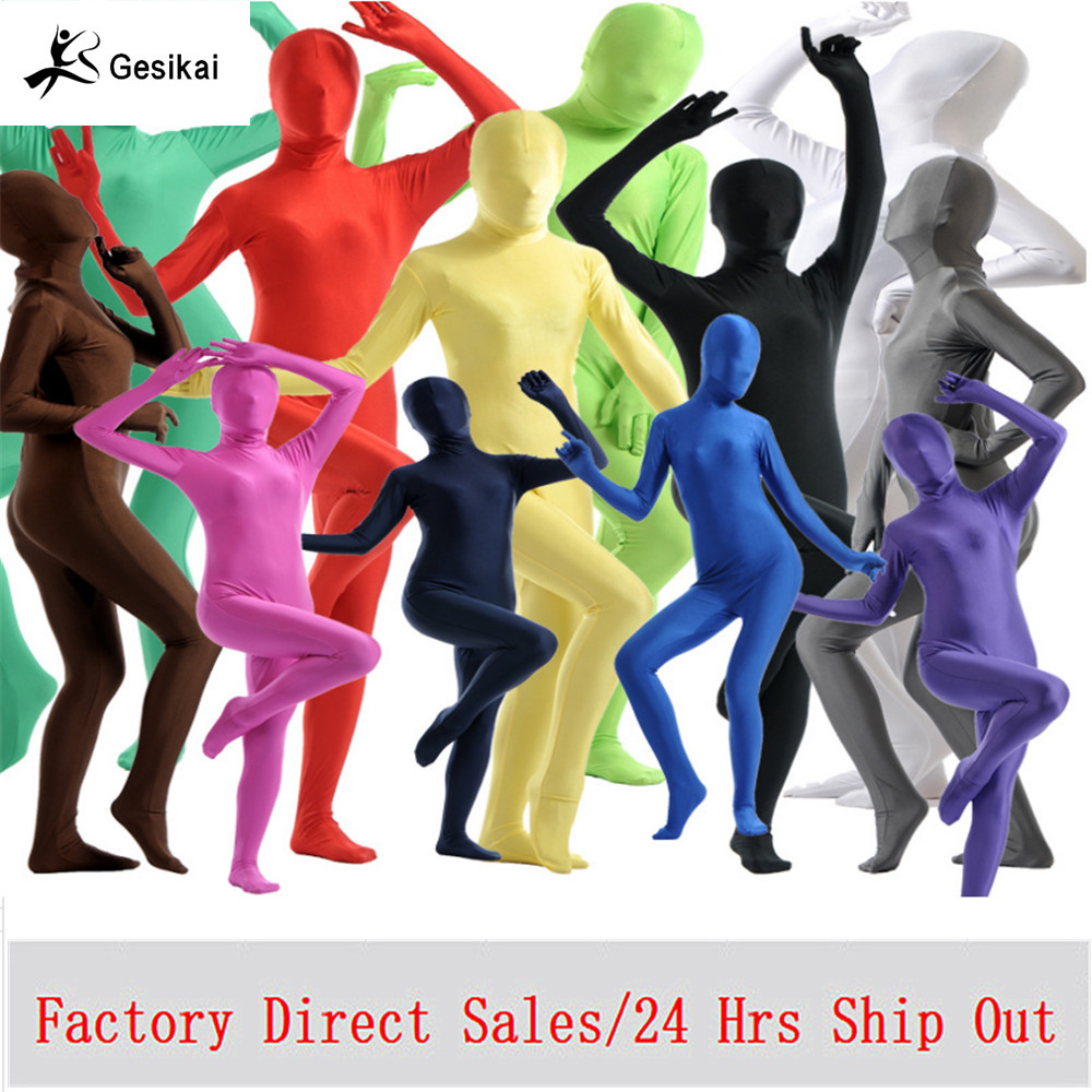 Voksen Lycra Full Body Zentai Suit Egendefinert til Halloween Kvinner Second Skin Tight Suits Spandex Lycra Body Suits Cosplay Kostymer