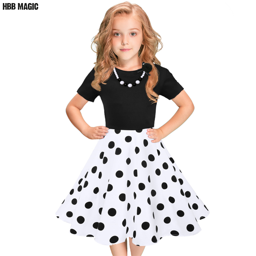 European and American Fashion Girls Cotton Dress Summer Girl Party Princess Dress Pleated Polka Dot Kids Dresses for Girls 5-12Y rockwave festival 2017 placebo page 5