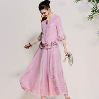Original design 2018 spring women embroidery suits pink/white/green shirt tops + floral long skirt lady set outfit female S XXL