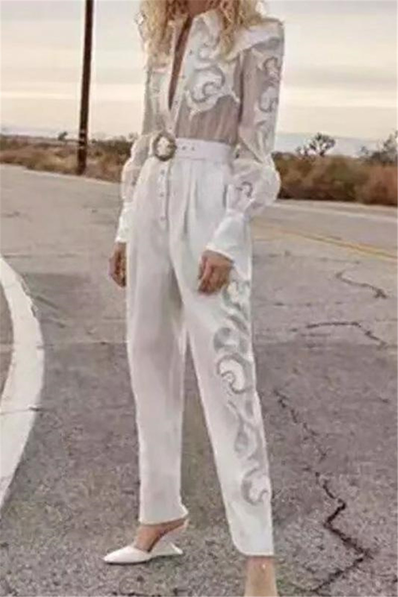 Runway Suit Women's Flare Sleeve Bow Collar embroidery Two Piece Set Top And Pants 2 Piece Set Women Blouses Casual Pants (2)