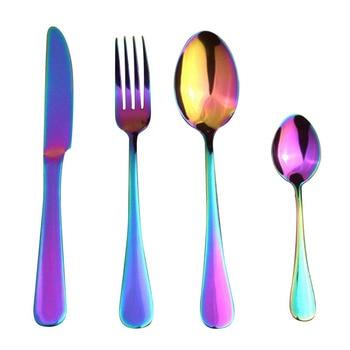 Stainless Steel Colorful Dinner Set Rainbow Cutlery Tableware Set Knife Fork Scoops Set Wedding Flat ware Kitchen Dinnerware Set