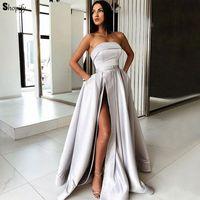 Длинное вечернее платье 2018 Сексуальная Высокая средства ухода за кожей шеи лодка без рукавов для женщин серебро Саудовская Аравия
