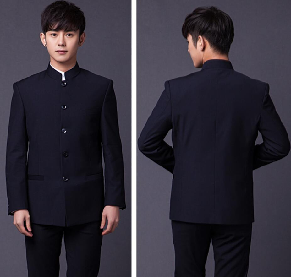 PYJTRL Brand Male Fashion Two-piece Slim Fit Suits Classic White Black Gray Navy Blue Chinese Tunic Suit Wedding Groom Tuxedo