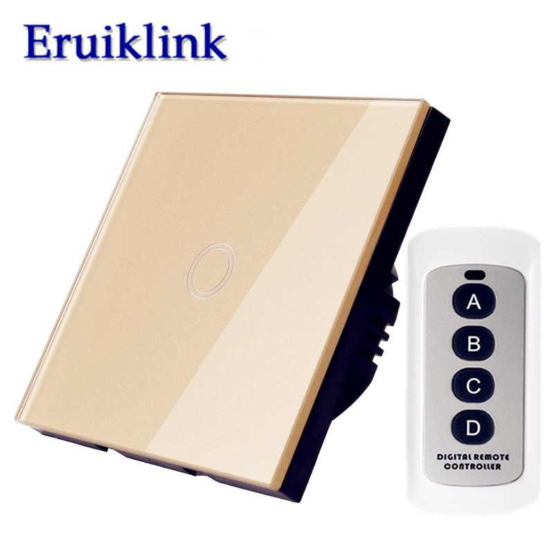 EU/UK Standard Light RF433 Remote Control Switch, 1/2/3 Gang 1 Way Gold Glass Panel Wall Touch Switch With LED Indicator