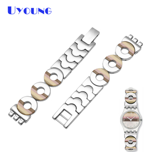 Image 1 - Latest girls student stainless steel bracelet 12mm for swatch LK258G LK373G LB160G LK375G Small size heart shaped watch strap