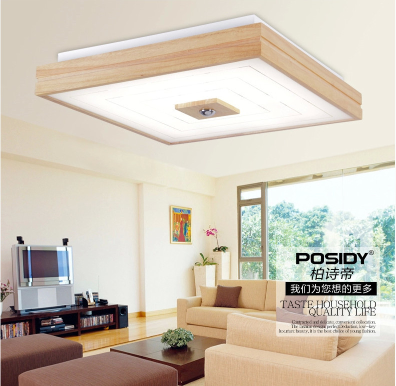 Ceiling Lights For Small Rooms : New square design simple modern wood led ceiling