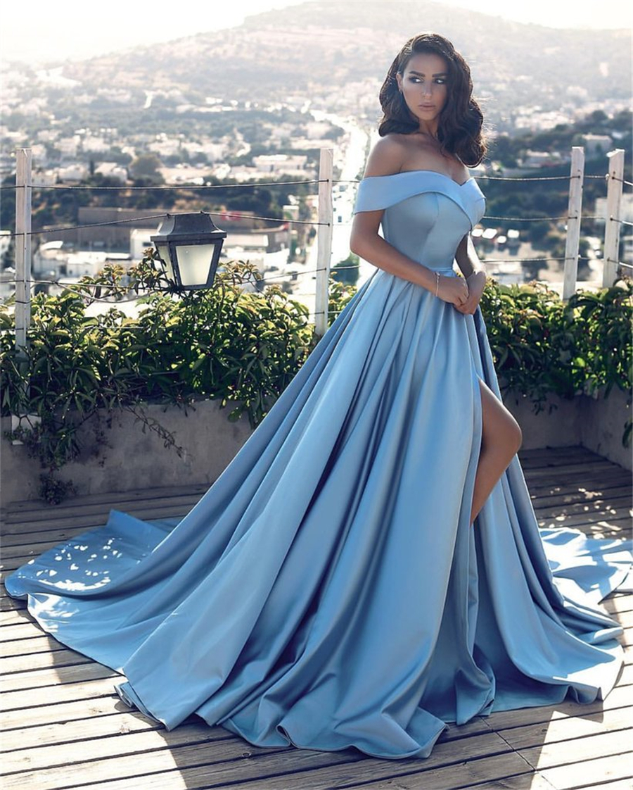 Glamorous Off-the-Shoulder A-line   Evening     Dress   Long With Slit Satin Customized Made Prom   Dress   long graduation   dress