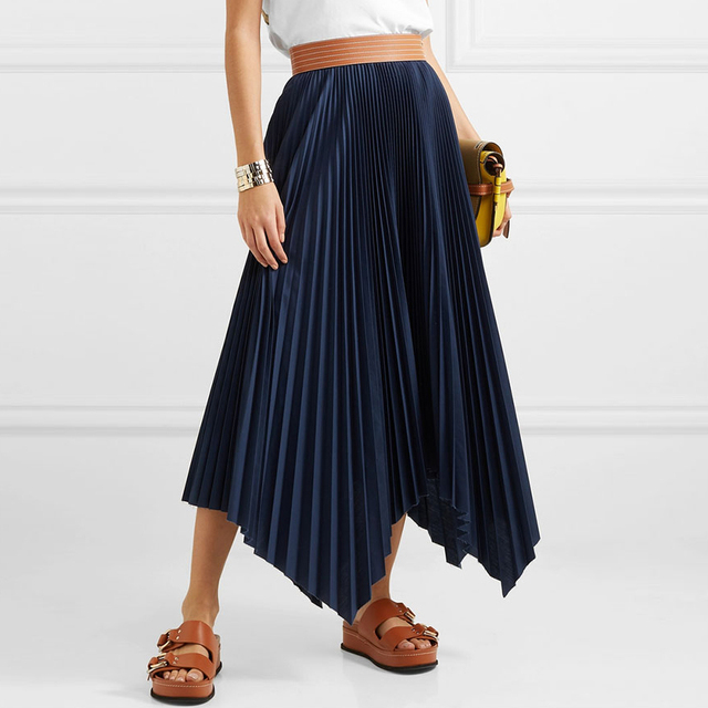 2019 Spring Summer Pleated Orange Skirt Women's Retro Deep Blue Half-length Fashion Half Skirt Female Irregular Crop Skirt