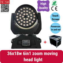 2 lights with fly case touch screen 36x18w zoom moving head rgbaw uv dj led wash movinghead lyre