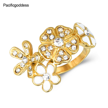 flower sharp cz stone ring for wedding engagement rings beautiful girl