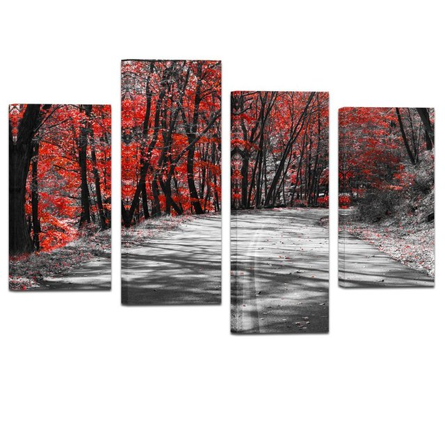 Modern black and white canvas wall art giclee prints autumn landscape red tree wall decor art