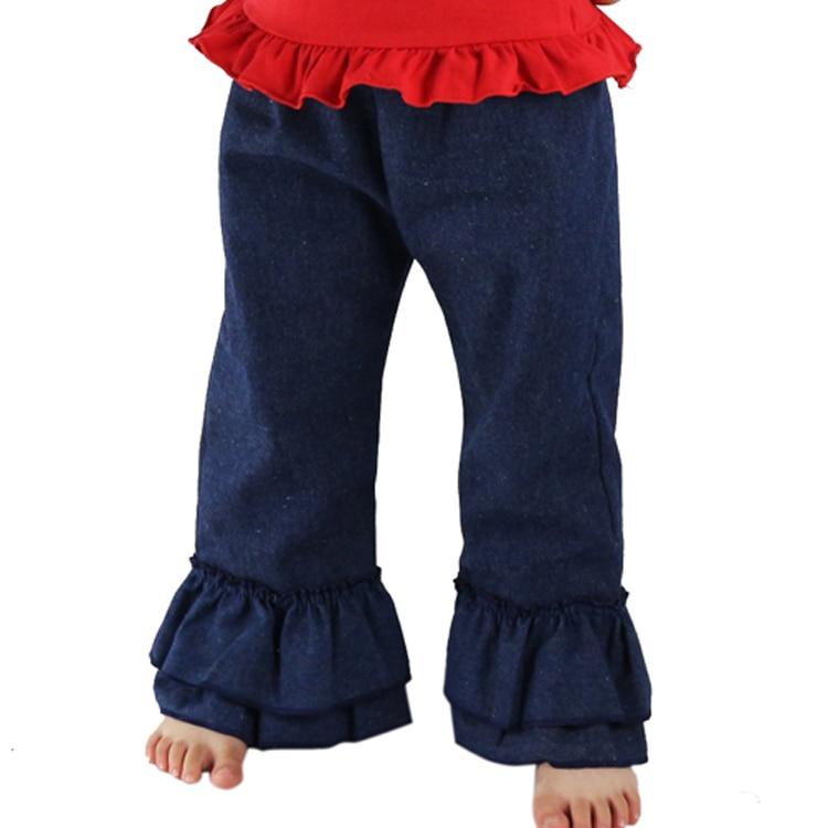 Free Shipping Children Denim Cute Girl Denim Double Ruffles Pants Kids Pants Spring Autumn Baby ...