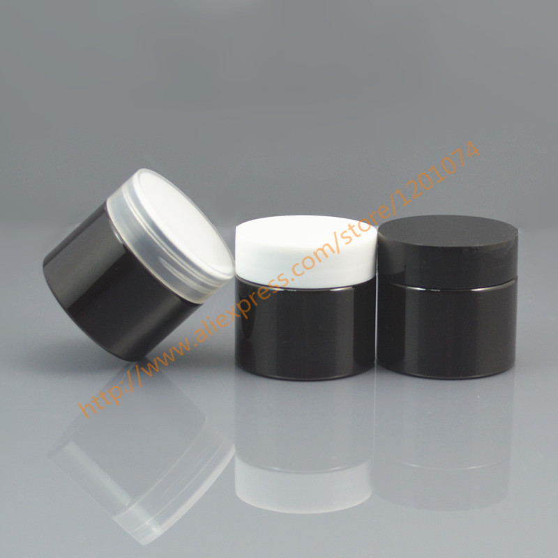 25 grams brown PET Cosmetic Jar with black white clear PP lid 25 ml Sample Container