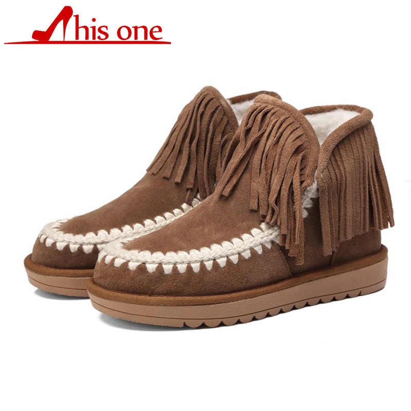Women classic ankle boots snow boots warm winter fur plush female insole of high quality Slip-On