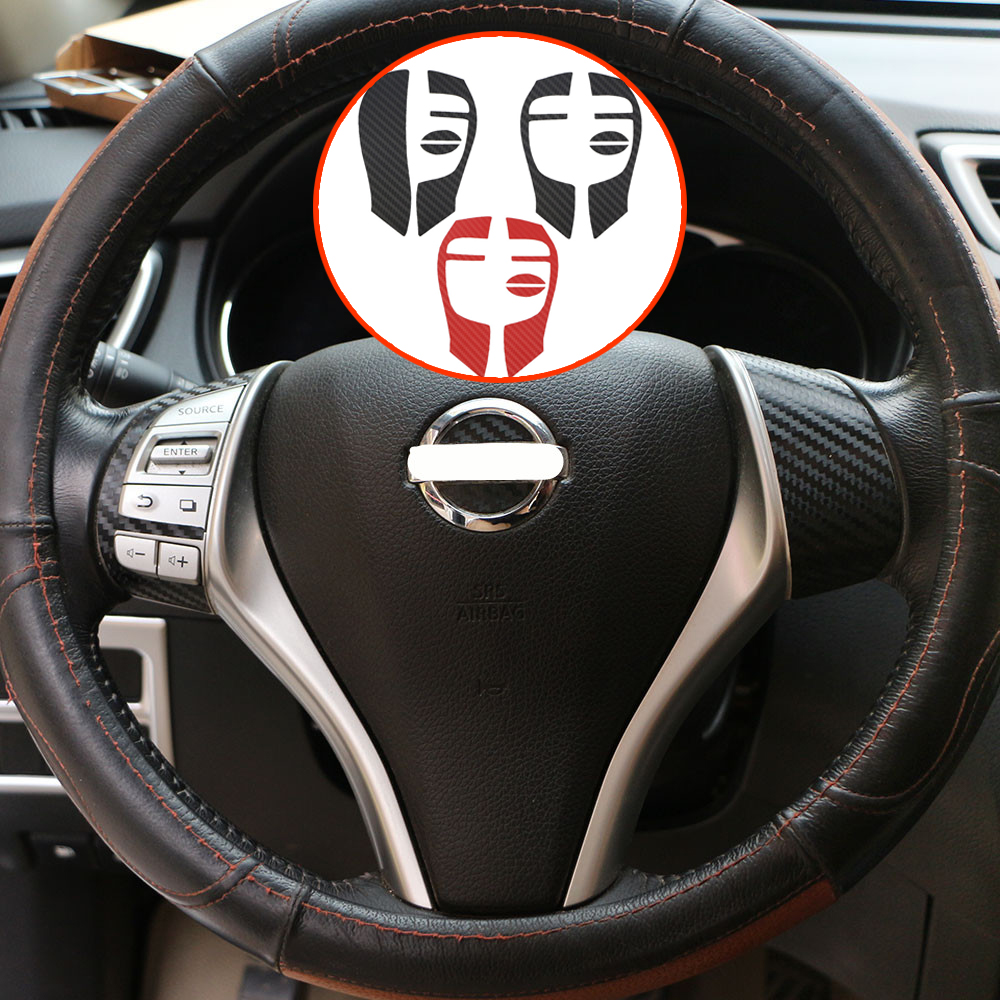 Zlord Interior Car Steering Wheel Decoration Film Protection Stickers For Nissan X-trail Xtrail T32 2013 - 2017 Accessories