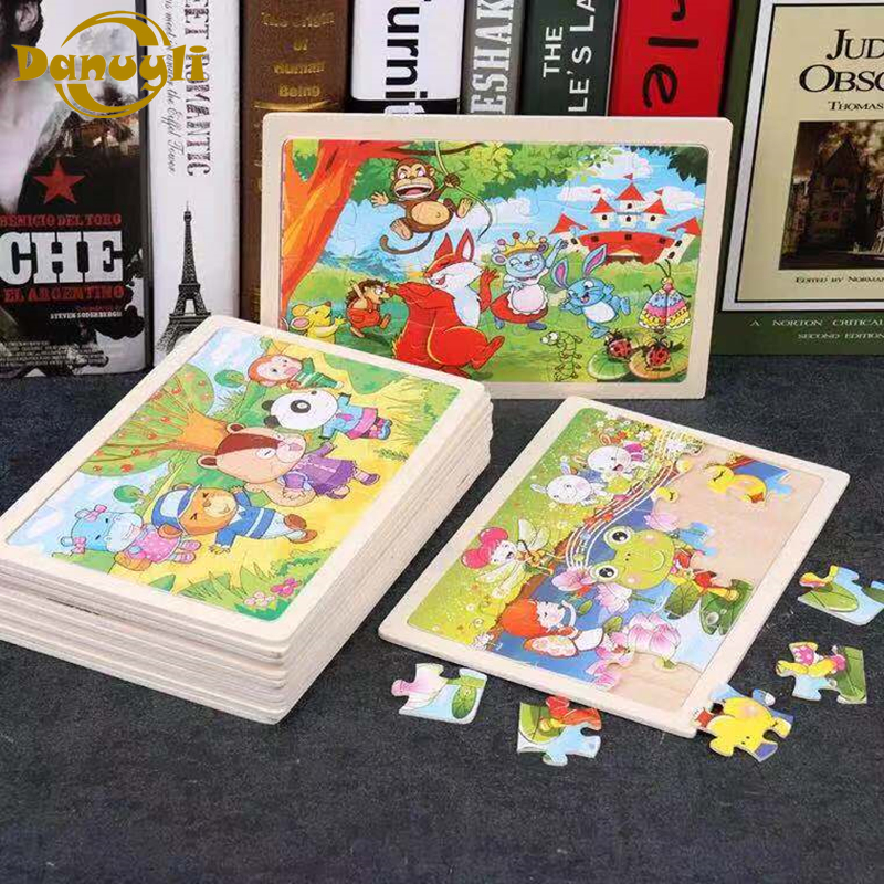 Danuyli Hot Sale 1pcs 24 Slice Small Piece Puzzle Toy Children Animals Wooden Jigsaw Puzzles Kids Educational Toys For Baby