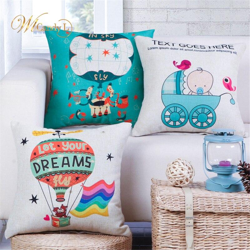 WL Candy L Cartoon Cushion Cover Baby Carriage Hot air balloon Pattern Car Sofa Decor Home Decorative 45*45cm Linen Pillow Cover