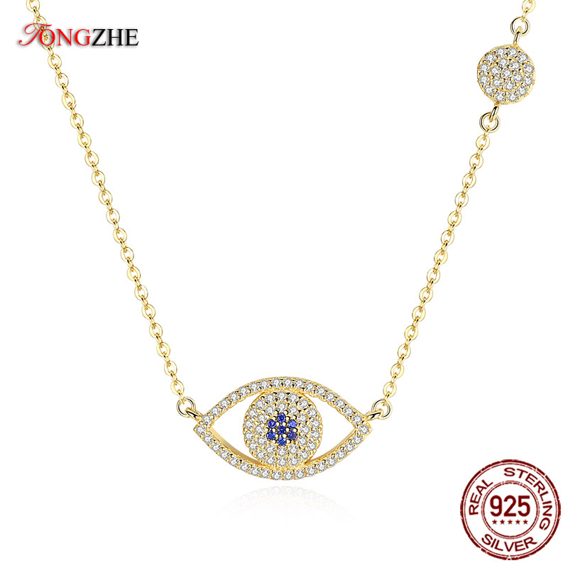 TONGZHE 2018 Evil Eye Necklace 925 Sterling Silver Cubic Zirconia Gold Pendant Necklace Women New Zealand Jewelry Collares 925 sterling silver jewelry necklace pendant retro evil vajra pestle jiangmo avoid evil spirits musical instruments page 2