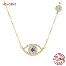 TONGZHE 2018 Evil Eye Necklace 925 Sterling Silver Cubic Zirconia Gold Pendant Necklace Women New Zealand Jewelry Collares