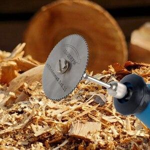 Image 3 - Matkap Dremel aksesuarları HSS 1 adet Mini dairesel testere bıçakları güç araçları ahşap kesme disk taşlama çark seti döner aletler için