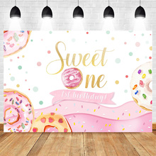Mehofoto 1st Birthday Party Backdrop for Children Celebration Sweet One Background Donut Backdrops Dessert shop