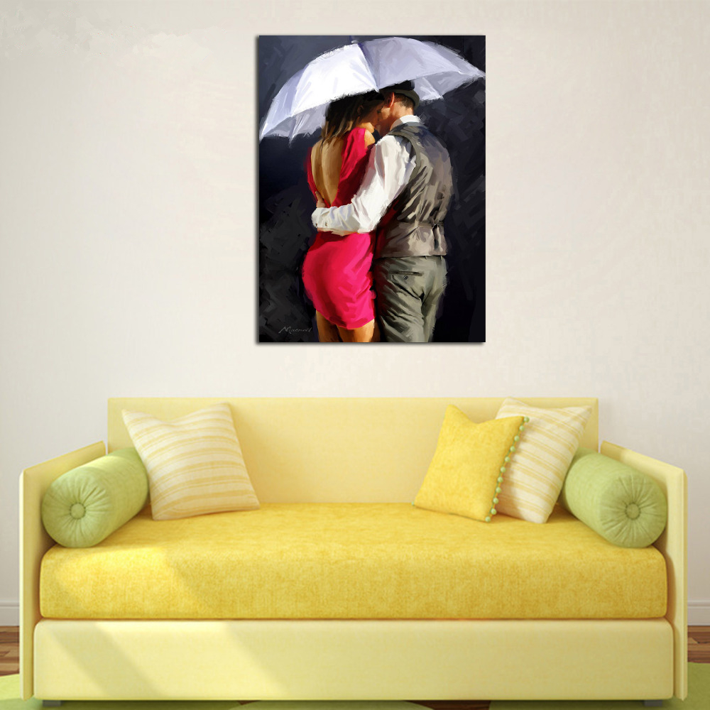Hot Sale Framed Kiss Lover DIY Digital Painting By Numbers Wall Art ...