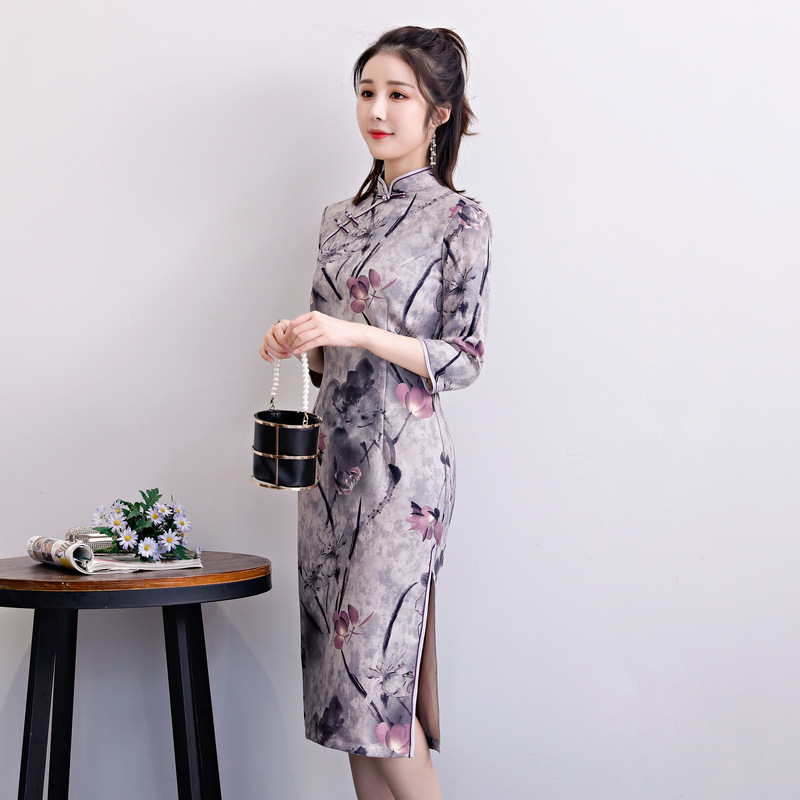 New arrival Chinese Traditional Women Suede Qipao Mandarin Collar Cheongsam Novelty Chinese Formal Dress Size M