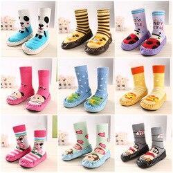 Теплые Нескользящие прогулочные носки из искусственной кожи с рисунком кота для малышей Детские носки для младенцев зимние теплые носки ун...