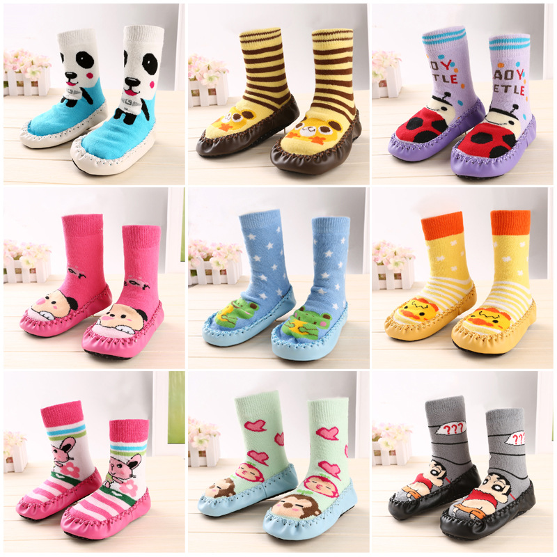 Cat Baby Warm Slip-resistant Faux Leather Floor Walking Socks Kid's Infant Socks Boys Girls Winter Warmer Unisex For Children