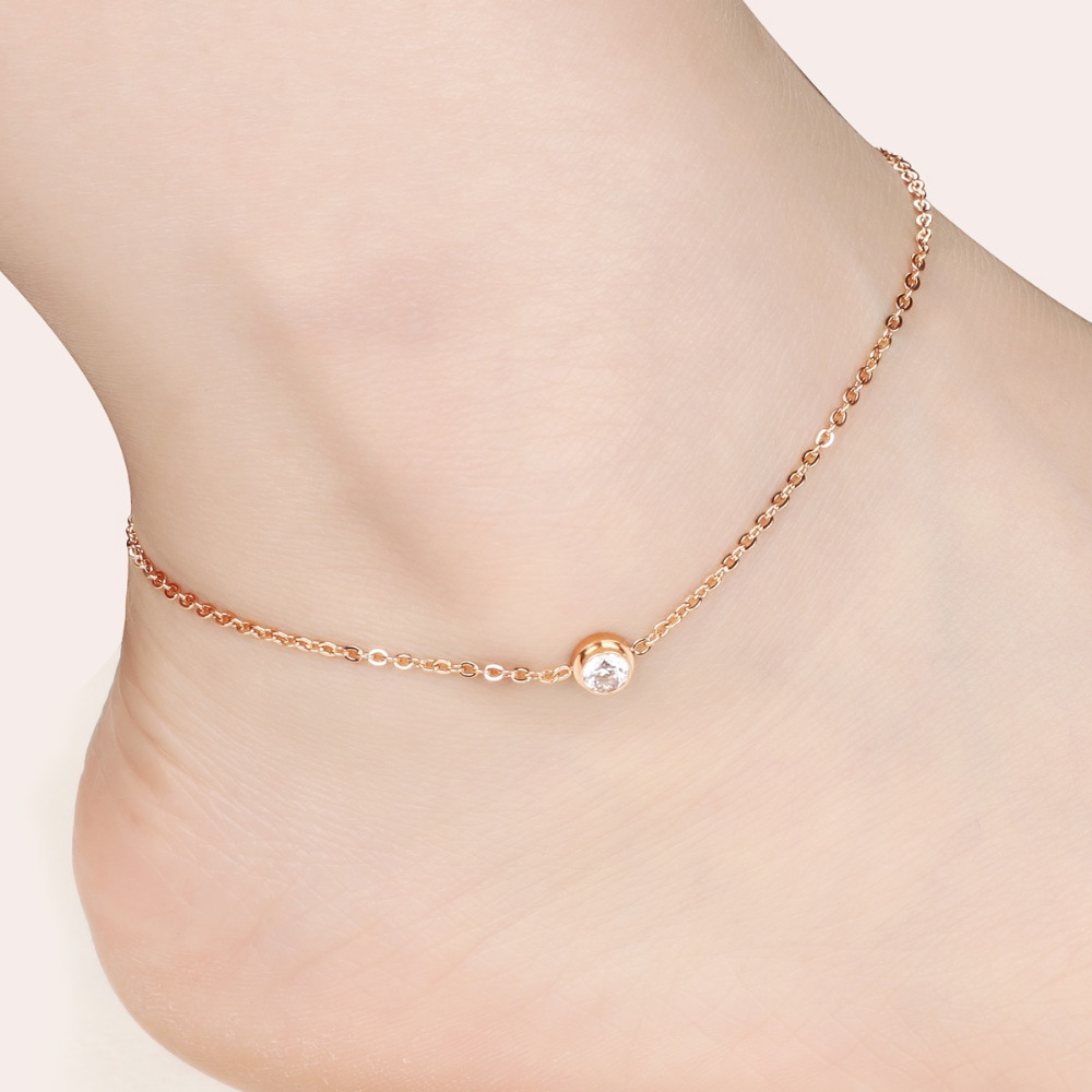 OPK AAA Cubic Zirconia Woman Anklets CasualSporty Rose Gold Color