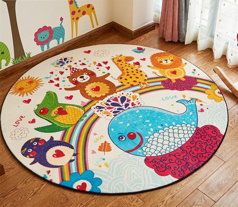 Lovely Cartoon 5 Styles Round Carpet Diameter 80/100/120/150CM Parlor Rug Children Living Room Mat Bedroom Chair non-slip carpt