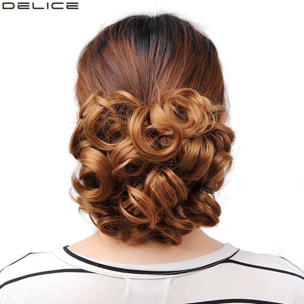 Delice Women's Curly Chignon With Plastic Combs Big Hair Bun Synthetic Short Blonde Messy Buns Clip In Hairpieces