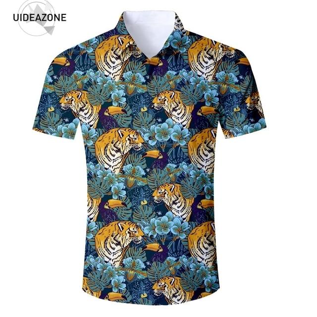Floral Tiger Mens Shirts 2018 Short Sleeve 3D Men Clothes Fashion Vocation Summer Beach Hawaiian Shirt Casual Shirt Eur Size