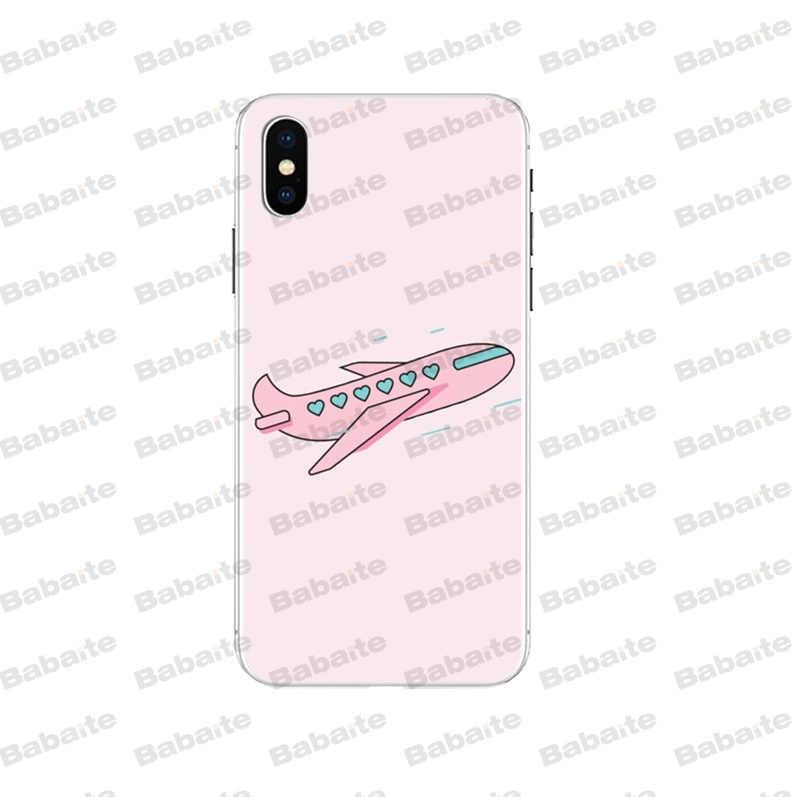 Babaite Plano De Ar Dos Desenhos Animados Suave Silicone Transparente Caso de Telefone para o iPhone Da Apple 8 7 6 6S Plus X XS MAX 5 5S SE XR Tampa