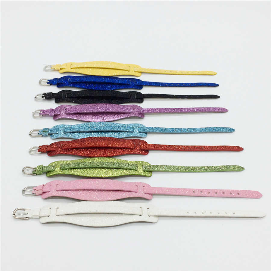 Sales 8MM Two Layers PU Leather Glint  Wristband Bracelets Fit 8MM Slide Charms Slide Letters Mixed Colors WB25