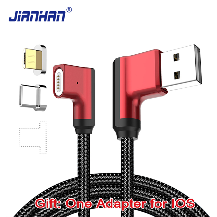 3 in 1 Magnetic 90 degree 1M Micro USB Cable Fast Charging Data 5V2A Braided Type C L Shape Charger for iPhone Xiaomi Samsung lighting usb to micro usb data charging cable for samsung i9000 i9100 i9300 blue white 1m