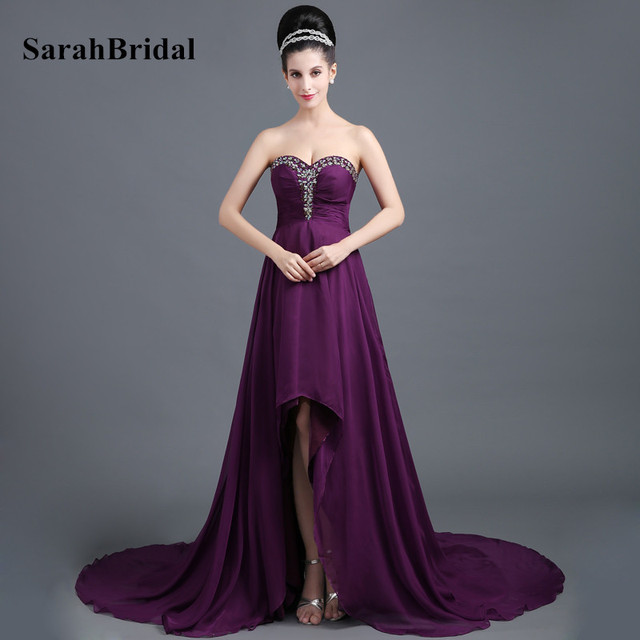 dc453746c0d Fashion Eggplant High Low Prom Dresses With Beaded Crystal Chiffon  Sweetheart Court Train For Women Formal Pageant Dress SD299